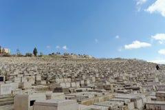 Ισραήλ Ιερουσαλήμ - 15 Φεβρουαρίου 2017 Άποψη του παλαιού εβραϊκού νεκροταφείου Στοκ Εικόνες