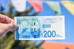 Ισραηλινός νέος λογαριασμός shakel διακόσια Στοκ Εικόνες