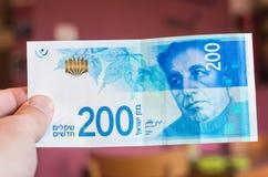 Ισραηλινός νέος λογαριασμός shakel διακόσια Στοκ Φωτογραφία
