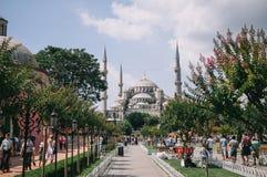 Ιστανμπούλ, Τουρκία - τον Ιούλιο του 2014 Τουρίστες το καλοκαίρι στο πάρκο στο μπλε μουσουλμανικό τέμενος Στοκ εικόνες με δικαίωμα ελεύθερης χρήσης