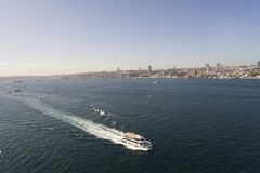 Ιστανμπούλ Bosphorus με τον κηφήνα Στοκ εικόνα με δικαίωμα ελεύθερης χρήσης