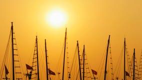 Ιστοί των σκαφών και των βαρκών στο ηλιοβασίλεμα Βιετνάμ Στοκ φωτογραφίες με δικαίωμα ελεύθερης χρήσης