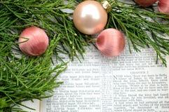 Ιστορία και πρασινάδα Χριστουγέννων με τις ρόδινες διακοσμήσεις Στοκ Φωτογραφίες