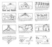 Ιστορία σε σκίτσα του Δαβίδ και σχολείου της Κυριακής Goliath Στοκ Φωτογραφίες