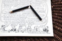 Ιστορία σε σκίτσα Wolinski και σπασμένο μολύβι Στοκ Εικόνα