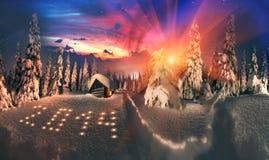 Ιστορία Χριστουγέννων για τους ορειβάτες στοκ εικόνα