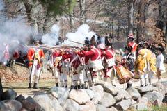 Ιστορικά γεγονότα αναπαράστασης στο Λέξινγκτον, μΑ, ΗΠΑ στοκ φωτογραφίες