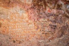 Ιστορικά ονόματα στους τοίχους της κύριας σπηλιάς Stadsaal στοκ εικόνες