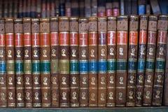 Ιστορικά παλαιά βιβλία στη βιβλιοθήκη, ξύλινο ράφι Στοκ Φωτογραφίες