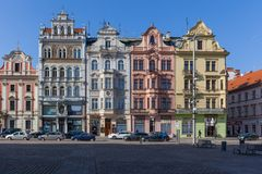 Ιστορικά σπίτια στο τετράγωνο Δημοκρατίας, Plzen Στοκ φωτογραφία με δικαίωμα ελεύθερης χρήσης