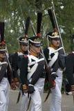 Ιστορική αναπαράσταση μάχης Borodino στη Ρωσία Στρατιώτες στρατού Russan Στοκ εικόνα με δικαίωμα ελεύθερης χρήσης