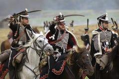 Ιστορική αναπαράσταση μάχης Borodino στη Ρωσία Τρεις στρατιώτες στρατού Russan Στοκ εικόνα με δικαίωμα ελεύθερης χρήσης
