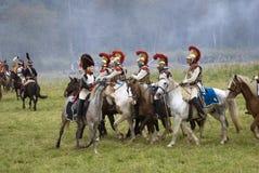 Ιστορική αναπαράσταση μάχης Borodino στη Ρωσία, Cuirassiers επίθεση Στοκ Εικόνες