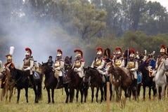 Ιστορική αναπαράσταση μάχης Borodino στη Ρωσία, Cuirassiers επίθεση Στοκ εικόνα με δικαίωμα ελεύθερης χρήσης
