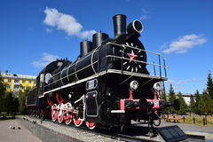 Ιστορική ατμομηχανή ατμού στην επίδειξη σε Astana Στοκ φωτογραφία με δικαίωμα ελεύθερης χρήσης