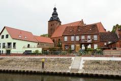 Ιστορική εικονική παράσταση πόλης Havelberg με τα παραδοσιακά σπίτια τούβλου Στοκ Φωτογραφία