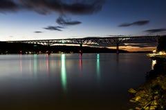 Ιστορική και αποκατεστημένη γέφυρα σιδηροδρόμου - ηλιοβασίλεμα - ποταμός του Hudson - Νέα Υόρκη Στοκ Εικόνα
