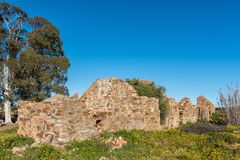 Ιστορική καταστροφή στο αγρόκτημα Matjiesfontein στο βόρειο ακρωτήριο στοκ εικόνα