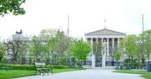 Ιστορική οικοδόμηση του αυστριακού Κοινοβουλίου Αρχιτεκτονικά τεμάχια της κύριας πύλης Αυστρία Βιέννη φιλμ μικρού μήκους