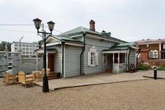 Ιστορική περιοχή με τα ξύλινα σπίτια στο Ιρκούτσκ, Ρωσία Στοκ φωτογραφίες με δικαίωμα ελεύθερης χρήσης