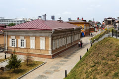 Ιστορική περιοχή με τα ξύλινα σπίτια στο Ιρκούτσκ, Ρωσία Στοκ Εικόνα