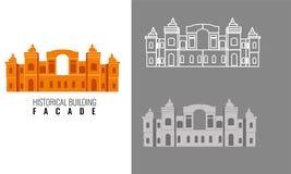 Ιστορική πρόσοψη οικοδόμησης με την άποψη τρία Στοκ Φωτογραφίες