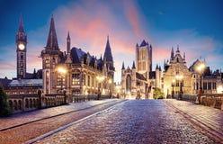 Ιστορική πόλη Γάνδη του Βελγίου στο ηλιοβασίλεμα Στοκ Εικόνα