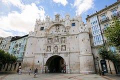Ιστορική πύλη πόλεων του Burgos Στοκ Φωτογραφίες