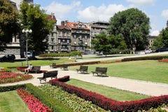 Ιστορική πλατεία Βελιγραδι'ου με το όμορφο πάρκο Στοκ φωτογραφία με δικαίωμα ελεύθερης χρήσης