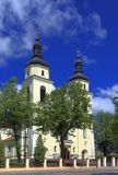 Ιστορική roman-catholic εκκλησία του ST Jacob Apostel στην πόλη Jedwabne στην Πολωνία Στοκ εικόνες με δικαίωμα ελεύθερης χρήσης