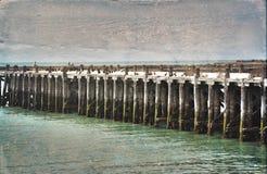 Ιστορική Sumpter αποβάθρα, Oamaru Κατασκευασμένη εικόνα Grunge Στοκ Εικόνα