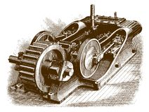 Ιστορικός δίδυμου κινητήρα ελεύθερη απεικόνιση δικαιώματος
