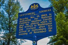 Ιστορικός δείκτης διευθύνσεων Gettysburg στοκ εικόνες