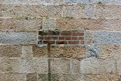 Ιστορικός τοίχος πετρών με τα τούβλα Tai Kwun στο Χονγκ Κονγκ Στοκ φωτογραφία με δικαίωμα ελεύθερης χρήσης