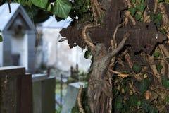 Ιστορικό άγαλμα στο παλαιό νεκροταφείο της Πράγας μυστηρίου, Δημοκρατία της Τσεχίας στοκ φωτογραφίες με δικαίωμα ελεύθερης χρήσης