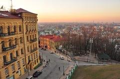 Ιστορικό κέντρο του Κίεβου - Podil, ηλιοβασίλεμα Στοκ εικόνα με δικαίωμα ελεύθερης χρήσης