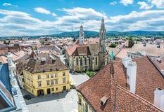 Ιστορικό κύριο τετράγωνο από τον πύργο πυρκαγιάς, Sopron, Ουγγαρία Στοκ Εικόνες
