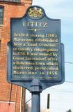 Ιστορικό σημάδι ιστορίας σε Lititz, Πενσυλβανία στοκ εικόνες με δικαίωμα ελεύθερης χρήσης