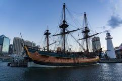 Ιστορικό σκάφος αντιγράφου προσπάθειας HMB στην αγάπη Harbbour Στοκ εικόνα με δικαίωμα ελεύθερης χρήσης