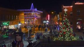 Ιστορικό στο κέντρο της πόλης Flagstaff, Αριζόνα, Παραμονή Πρωτοχρονιάς στοκ φωτογραφίες