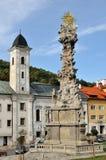 Ιστορικό τετράγωνο στην πόλη μεταλλείας Kremnica Στοκ Εικόνα