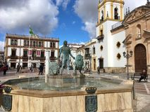 Ιστορικό τετράγωνο στην πόλη της Ronda στοκ φωτογραφίες με δικαίωμα ελεύθερης χρήσης