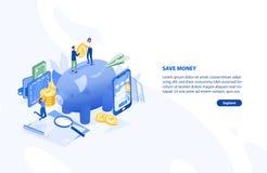 Ιστοσελίδας ή πρότυπο εμβλημάτων με το ζευγάρι των ανθρώπων που στέκονται στη γιγαντιαία piggy τράπεζα και που κρατούν το νόμισμα απεικόνιση αποθεμάτων