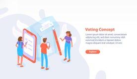 Ιστοσελίδας, ιστοχώρος ή πρότυπο εμβλημάτων με τους ανθρώπους που στέκονται εκτός από το γιγαντιαίο κάλπη στην ψήφιση του σταθμού διανυσματική απεικόνιση