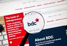 Ιστοσελίδας της καναδικής τράπεζας BDC Στοκ φωτογραφίες με δικαίωμα ελεύθερης χρήσης