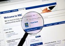 Ιστοσελίδας της καναδικής τράπεζας RBC Στοκ εικόνες με δικαίωμα ελεύθερης χρήσης