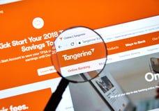 Ιστοσελίδας της καναδικής Tangerine τράπεζας Στοκ Εικόνα