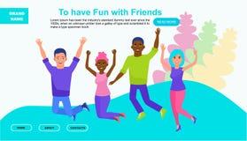 Ιστοχώρος ή προσγειωμένος σελίδα των φίλων στο άλμα Πολυπολιτισμική απεικόνιση έννοιας φιλίας Διανυσματική απεικόνιση στο α στοκ εικόνα με δικαίωμα ελεύθερης χρήσης