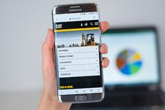 Ιστοχώρος της γάτας επιχείρηση COM στην τηλεφωνική οθόνη στοκ φωτογραφίες με δικαίωμα ελεύθερης χρήσης