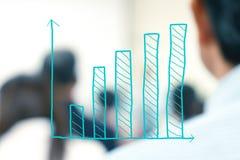 Ιστόγραμμα αύξησης με τους θολωμένους επιχειρηματίες Στοκ φωτογραφία με δικαίωμα ελεύθερης χρήσης